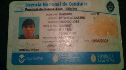 La foto de la licencia de conducir de Facundo Astudillo Castro