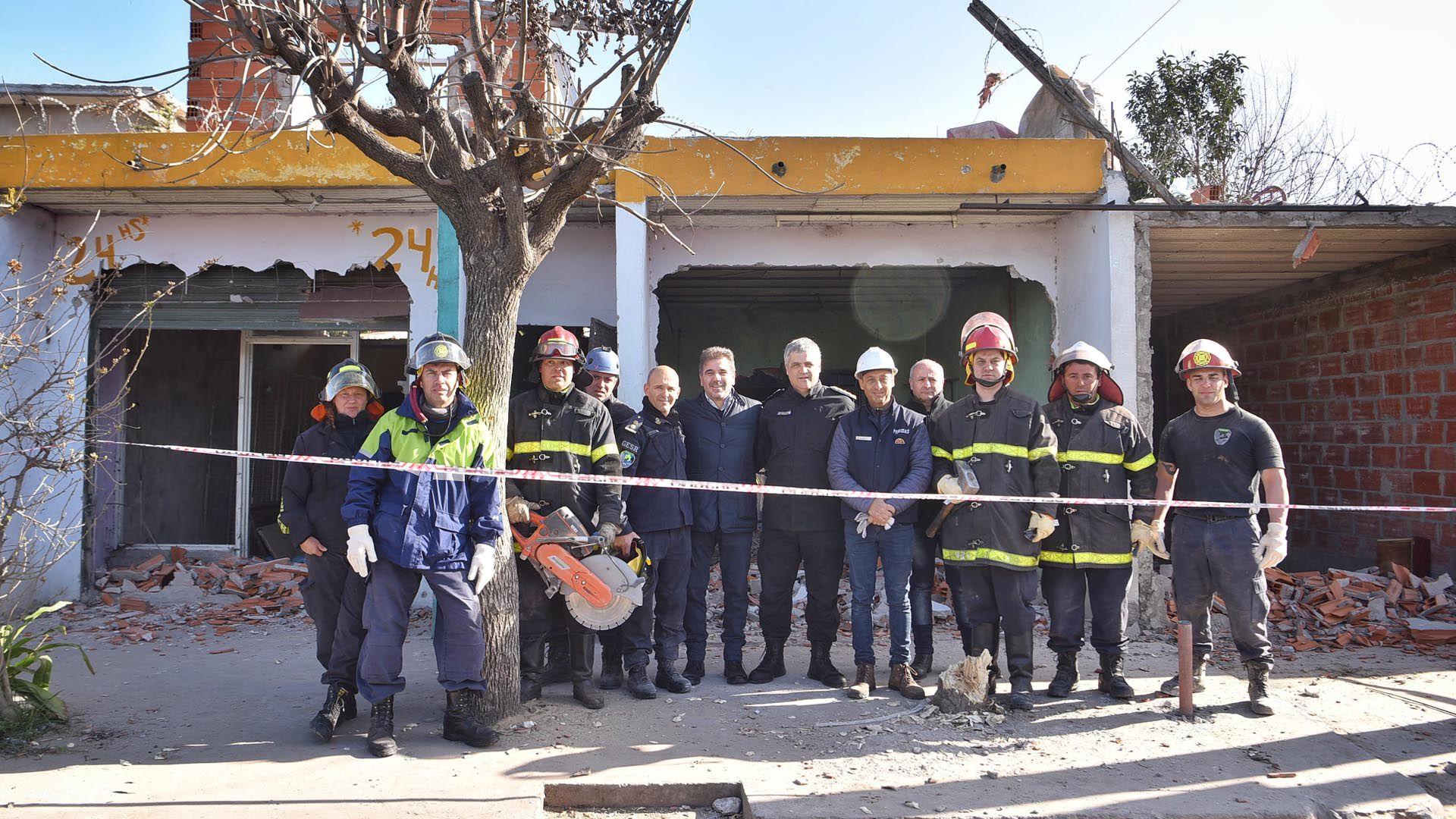 El ministro Cristian Ritondo estuvo presente durante los derribos de los búnkers