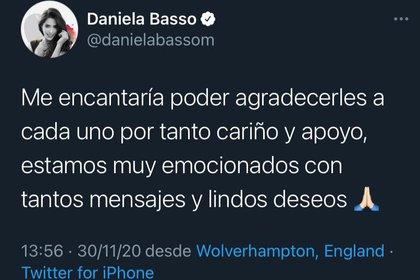 La compañera de jugador Daniela Basso está emocionada con todos los mensajes recibidos (Foto: Twitter @Danilabasom)