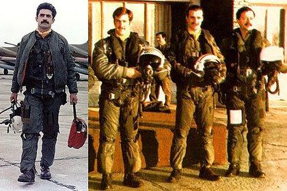 El capitán Pablo Carballo, el alférez Jorge Barrionuevo, el teniente Carlos Rinke y el 1er teniente Mariano Velasco del Grupo 5 de Caza en la base de Río Gallegos de la Fuerza Aérea durante la guerra de Malvinas.