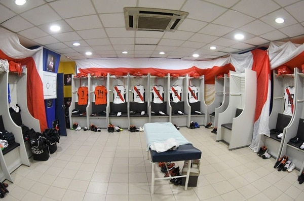 El vestuario de River en La Bombonera en el último Superclásico, correspondiente a la Superliga 2018