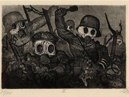 Sturmtruppe geht unter Gas vor (Tropas de asalto adelantadas con máscaras de gas, 1924)