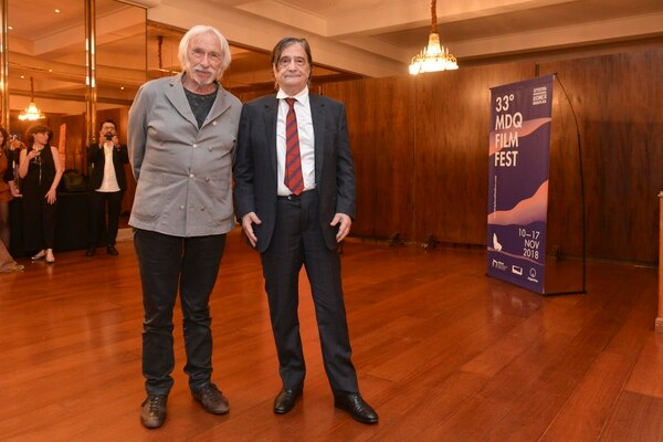 Richard junto a Jean-Pierre Léaud, otra figura del cine galo que participa del Festival