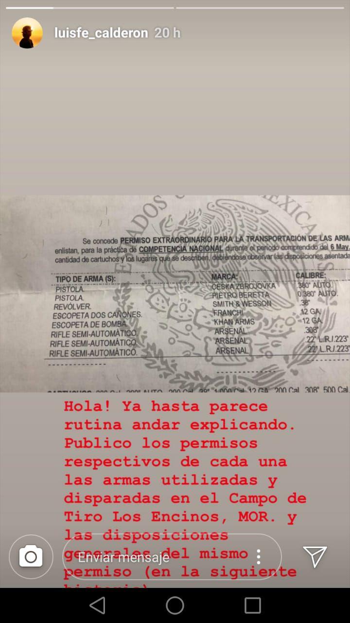 Luis Felipe Calderón disparó armas de alto calibre (Foto: Instagram)