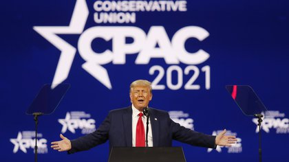 Former U.S. President Donald Trump speaks at the Conservative Political Action Conference in Orlando, Florida, U.S. February 28, 2021. REUTERS/Joe Skipper