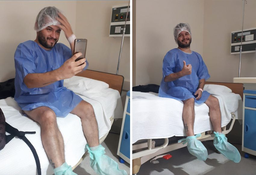 """El día de la cirugía en la que le ligaron los conductos deferentes, que son los que llevan los espermatozoides desde los testículos hasta la uretra. """"Un tatuaje duele más"""", contó"""