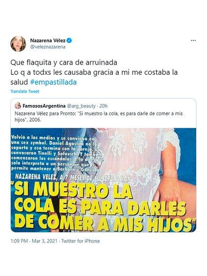 El tweet de Nazarena Vélez recordando su pasado con una tapa de revista