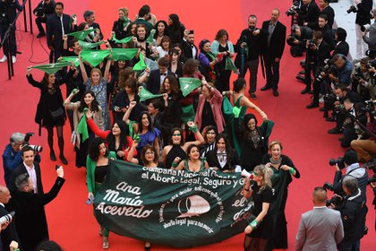 Militantes de la Campaña estuvieron en el festival de cine en Cannes (AFP)
