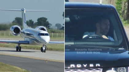 Lionel Messi llegó a Rosario en un avión privado para pasar las vacaciones en familia. Su esposa, Antonela Roccuzzo, y sus hijos, Thiago, Mateo y Ciro, ya se encontraban en el país desde hace varios días (@RosarioSpotters)
