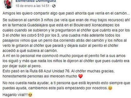 Esta usuaria de Facebook fue la encargada de hacer viral esta historia (Foto: Facebook@Esmeralda Domínguez)