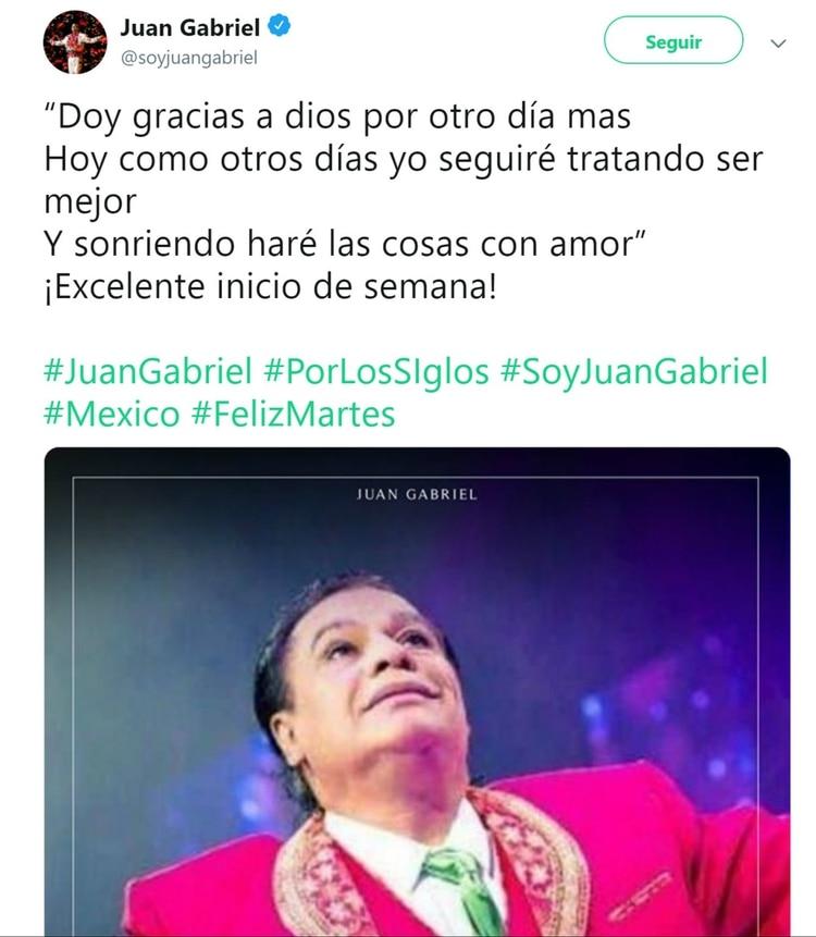 La cuenta de Juan Gabriel sorprendió con este mensaje