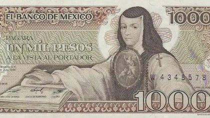En cuánto podrías vender en internet este billete de 1,000 pesos de Sor Juana Inés de la Cruz