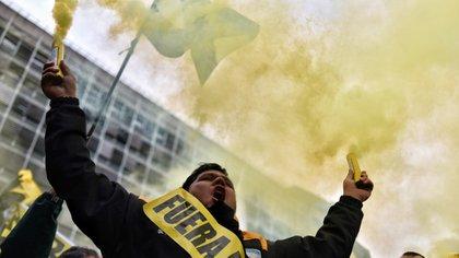 Manifestantes contra Uber, en Buenos Aires (Adrián Escandar)