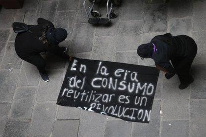 Colectivas feministas durante el tercer día de la toma de las instalaciones.