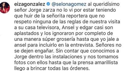 La actriz se mostró molesta luego de que una reportera del programa Ventaneando intentó hacerle algunas preguntas Captura de Pantalla: Twitter (@eizamusica)