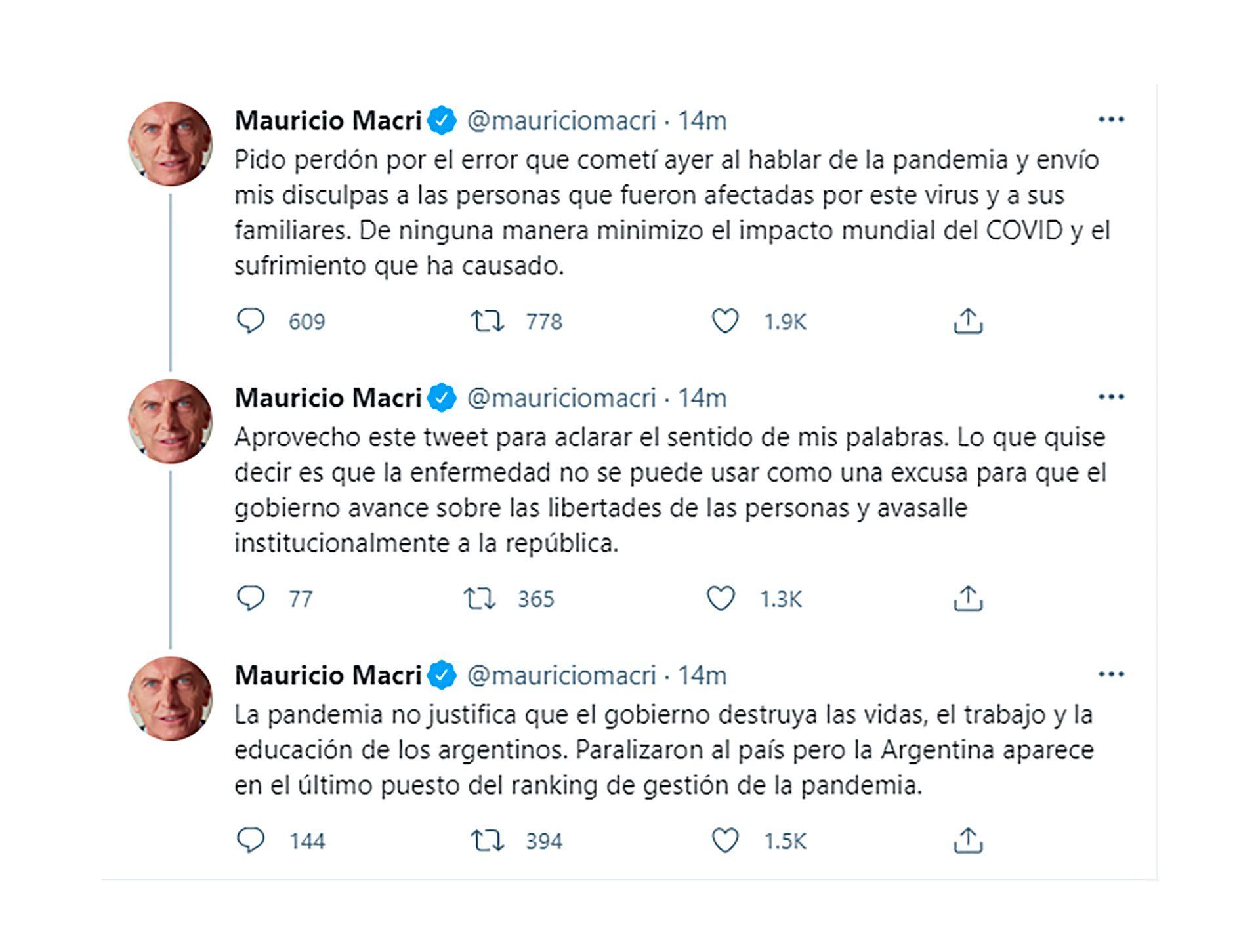 macri twitter disculpas covid