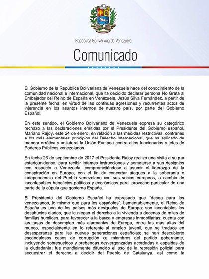 El comunicado de la cancillería venezolana (primera parte)