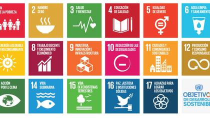 Los 17 objetivos de desarrollo sustentable (ODS) planteados por la ONU para combatir la desigualdad en el mundo.