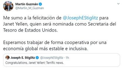 Tuit de Martín Guzmán felicitando a Janet Yellen por su nominación como Secretaria del Tesoro