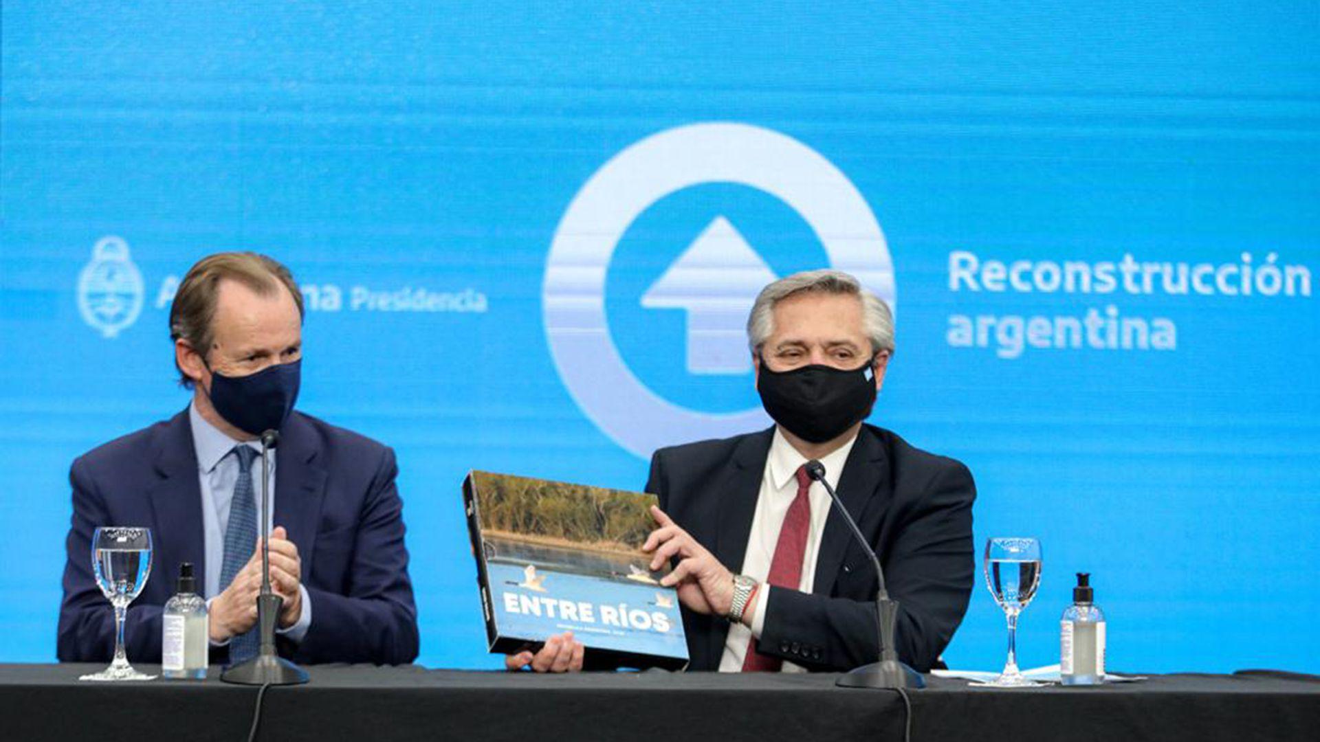 Alberto Fernández y Gustavo Bordet en Entre Ríos