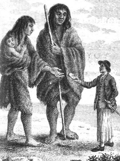 Representación de los gigantes patagónicos durante el viaje de Magallanes