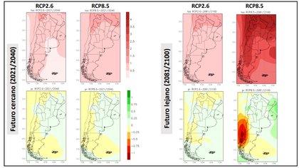 El aumento de temperatura (en rojo) y de precipitaciones (en amarillo) en el futuro cercano (hasta el año 2040) y en el futuro lejano (años 2081/2100) enlos escenarios más optimistas y más pesimistas. (Gentileza Inés Camilloni. Fuentes: Servicio Meteorológico Nacional)
