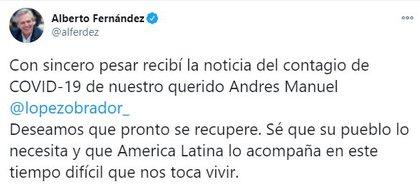 Alberto Fernández, presidente de Argentina, deseó pronta recuperación a AMLO (Foto: Twitter / @alferdez)