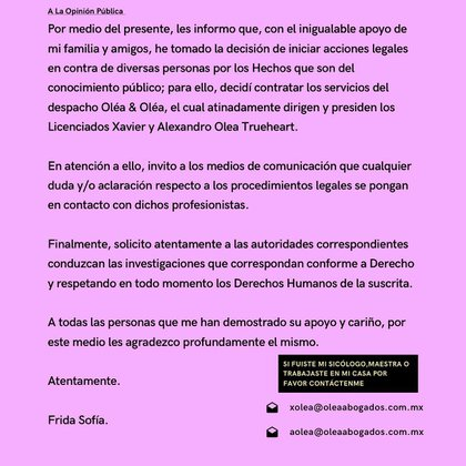 A travéz de su comunicado para la prensa, Frida Sofía confirma que ya dio los primeros pasos para tomar acción legal encontra de Enrique Guzmán (Foto: Instagram / @ifridag)