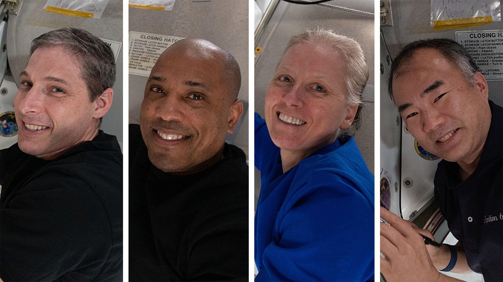 Los astronautas estadounidenses Michael Hopkins, Victor Glover y Shannon Walker y el japonés Soichi Noguchi, tripulación de la llamada SpaceX Crew-1 que regresa de la Estación Espacial Internacional para marcar el fin de la primera misión comercial completa de la empresa de Elon Musk en asociación con la NASA, de un total de seis