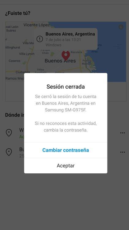 Desde el menú de Configuración/seguridad se puede ver dónde se inició sesión con la cuenta de Instagram