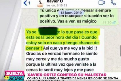 Parte de la conversación de Ortiz con su amigo