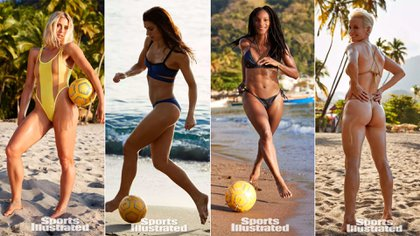 Dahlkemper, Morgan, Dunn y Rapinoe, futbolistas de la selección femenina de Estados Unidos, posaron para Sports Illustrated