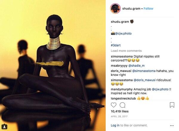 Luego de meses de debate en línea, el creador de Shudu reconoció que es una modelo digital.(Cameron-James Wilson/@shudu.gram)