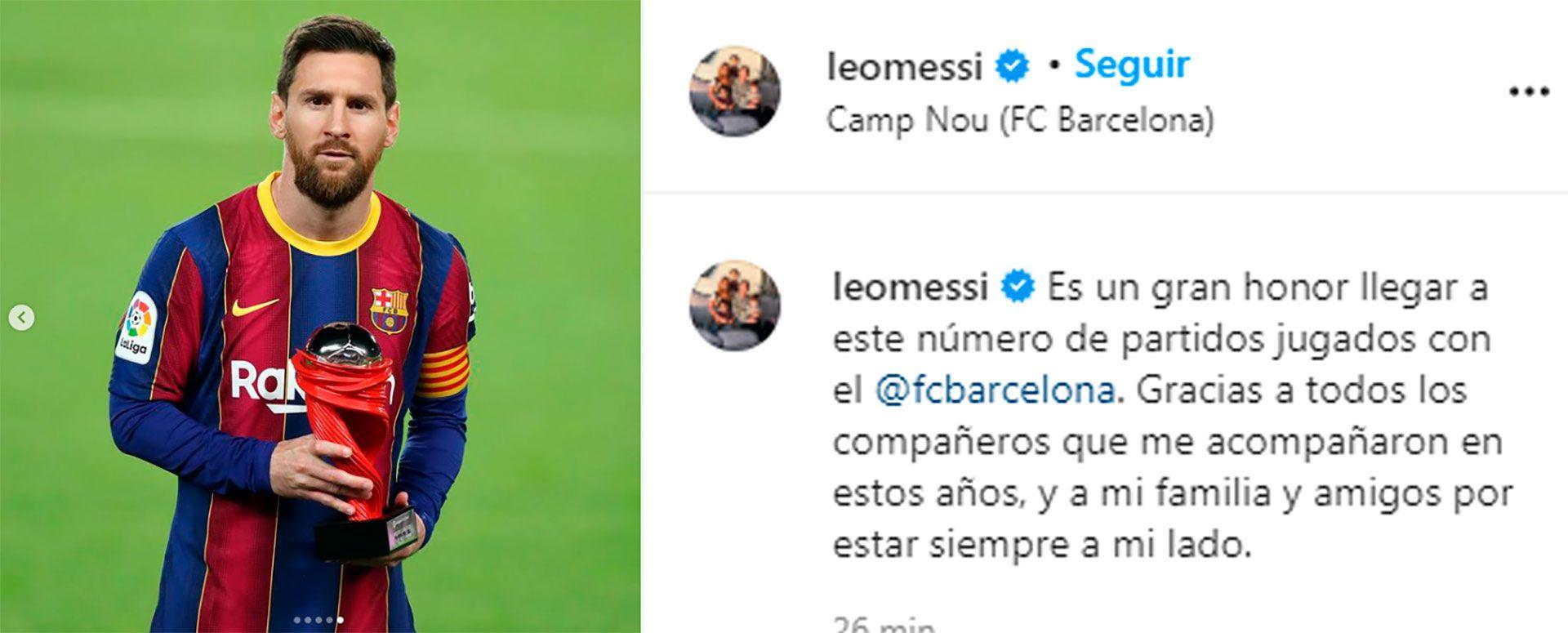 el mensaje de Messi en Instagram por su récord con el Barcelona