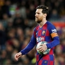 FILE PHOTO: Soccer Football - La Liga Santander - FC Barcelona v Real Sociedad - Camp Nou, Barcelona, Spain - March 7, 2020 Barcelona's Lionel Messi prepares to take a penalty REUTERS/Albert Gea/File Photo