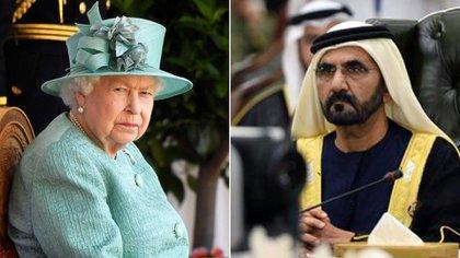 La reina Isabel II y Mohammed bin Rashid Al Maktoum, emir de Dubai