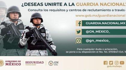 El 23 de julio se abrió una convocatoria que continúa publicada en el sitio web de la Guardia Nacional (Foto: Guardia Nacional)