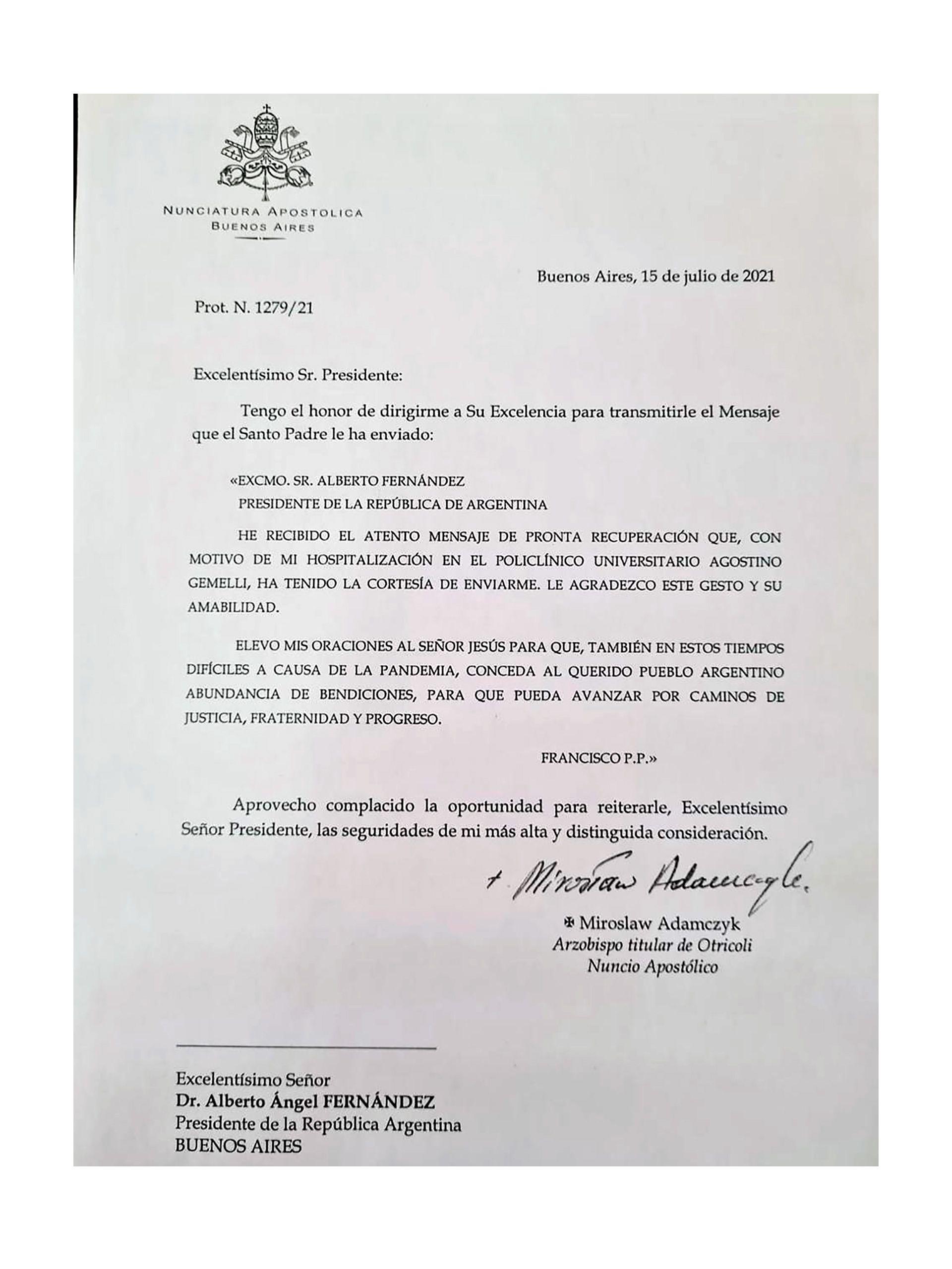 carta del papa francisco a alberto fernandez