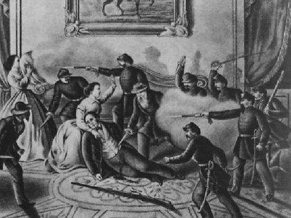 El momento en que los asesinos irrumpen en el salón donde Urquiza, herido, estaba en brazos de su esposa.