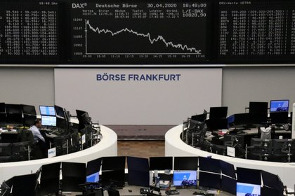 FILE PHOTO: The German share price index DAX graph is pictured at the stock exchange in Frankfurt, Germany, April 30, 2020. REUTERS/Staff