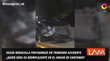 Así quedó la camioneta de Oscar Mediavilla (Foto: Captura de TV, Los ángeles de la mañana)