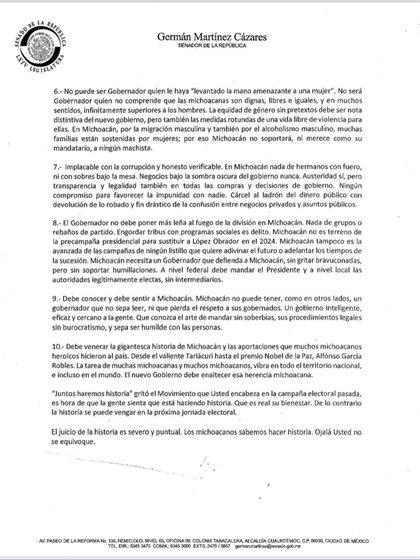 "Segunda parte del ""decálogo michoacano"" para Morena (Foto: Twitter / @letroblesrosa)"