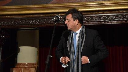 Sergio Massa, ayer, en Diputados. Tiene la difícil tarea de encarrilar la situación de la Cámara. con temas de peso en el horizonte.