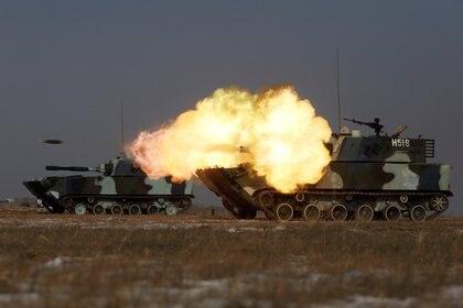 Un tanque de los marines del EPL en un ejercicio militar en la provincia de Jilin (Reuters)