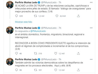 Porfirio Muñoz ledo celebró una nueva etapa en el próximo diálogo con Joe Biden (Foto: Twitter / @PMunozLedo)