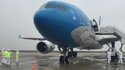 Uno de los vuelos de Aerolíneas Argentina a China