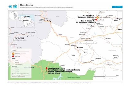 La ONU también denunció la existencia de fosas comunes en Venezuela