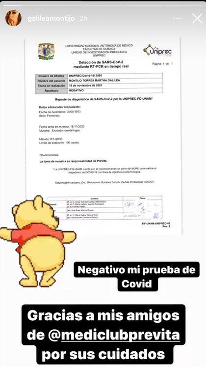 Los resultados negativos de covid de Galilea Montijo (Foto: Instagram@galileamontijo)