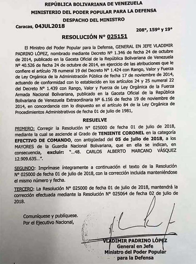 La revocación del ascenso del Carlos Alberto Marcano López, firmado por el ministro de Defensa Vladimir Padrino López