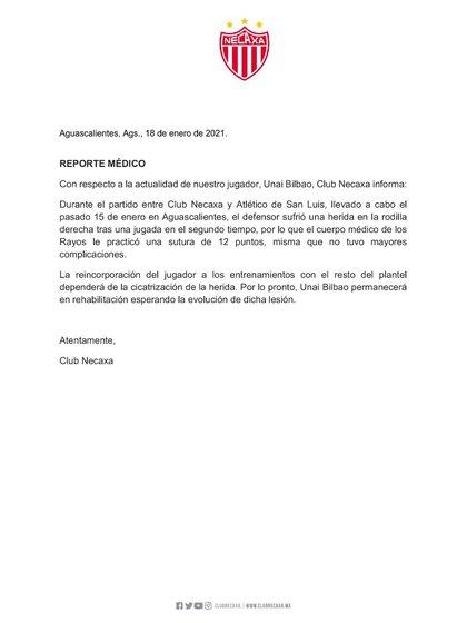 Rayos statement on Unai Bilbao's injury (Photo: Club Necaxa)
